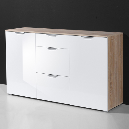 Eva Modern Sideboard In Gloss White And Canadian Oak With 2 Door