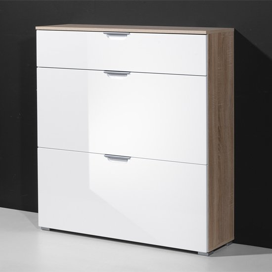 Eva Shoe Cabinet In Gloss White With 3 Drawers Part 12