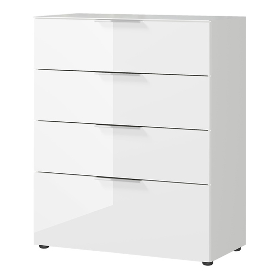 Oakland Chest Of Drawers In White High Gloss With 4 Drawers