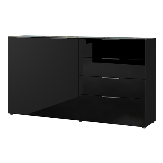Oakland Large Sideboard In Black High Gloss