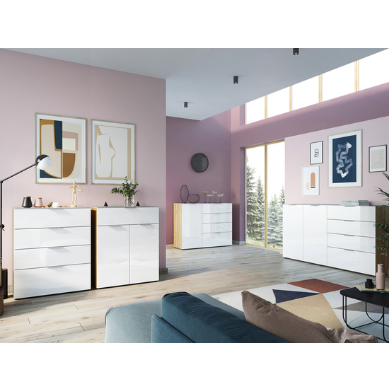 Oakland Sideboard In Navarra Oak And White High Gloss_3