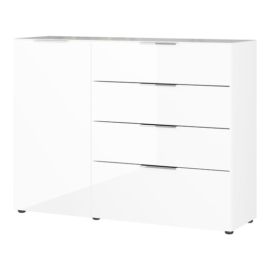 Oakland Sideboard In White High Gloss With 1 Door And 4 Drawers