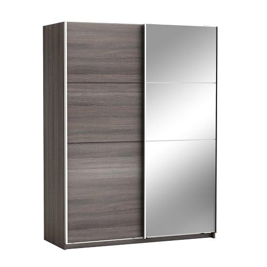 Oakley Mirrored Sliding Wardrobe In Vulcano Oak With 2 Doors
