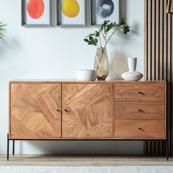 Oakmont Wooden 2 Doors 3 Drawers Sideboard In Natural