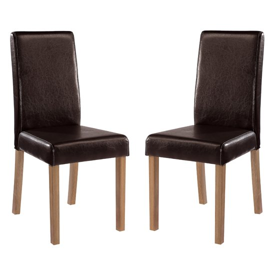 Oakridge Brown Finish Dining Chairs In Pair