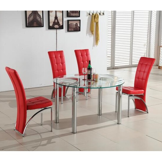 Oasis Glass Dining Table In Clear With 4 Ravenna Red Chairs