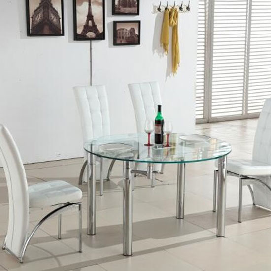 Oasis Round Extending Dining Table In Clear Glass And Chrome