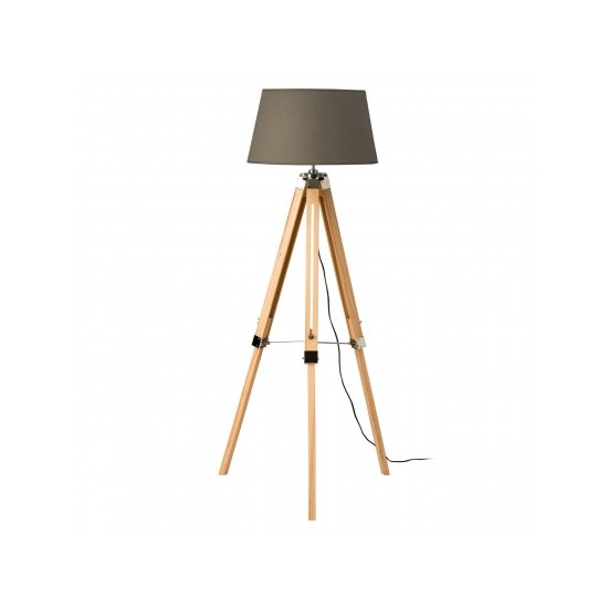 Obito Tripod Floor Lamp In Grey With Natural Wooden Legs