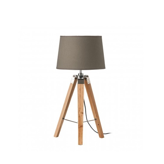 Obito Tripod Table Lamp In Grey With Natural Wooden Legs