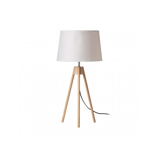 Obito Tripod Table Lamp In White With Natural Wooden Legs
