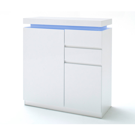 Ocean LED Wooden Shoe Storage Cabinet In High Gloss White