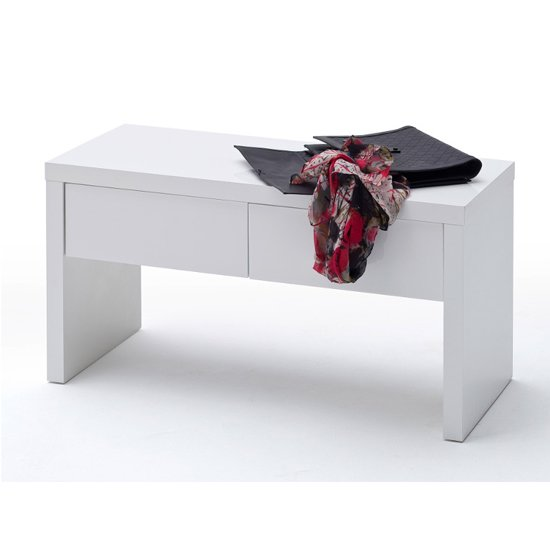 Ocean Wooden Storage Bench In High Gloss White