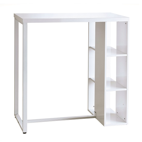 Ocean Modern Bar Table In White High Gloss With Shelving