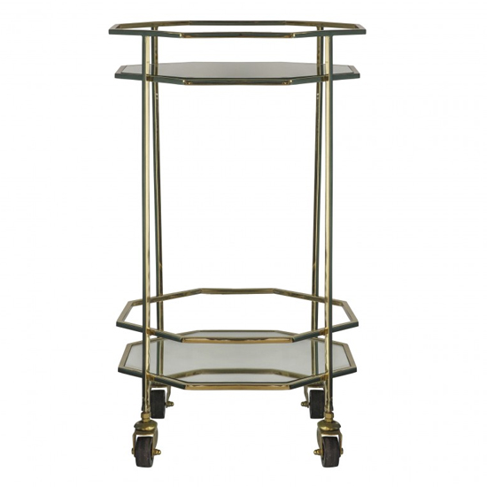 Ockla Glass Shelves Drinks Trolley With Gold Frame