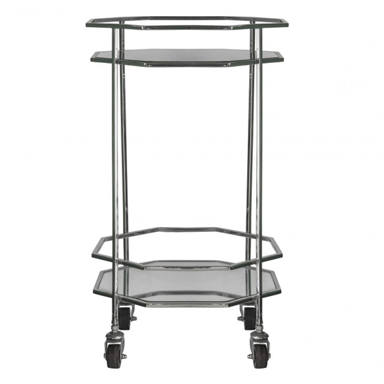 Ockla Glass Shelves Drinks Trolley With Silver Frame