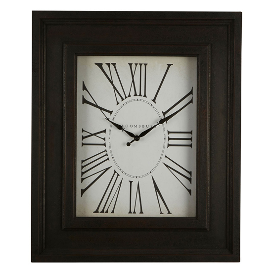 Ocrasey Rectangular Antique Style Wall Clock In Black