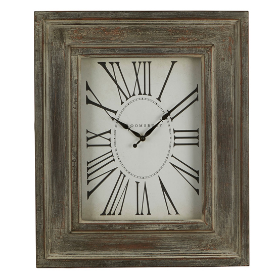 Ocrasey Rectangular Antique Style Wall Clock In Grey
