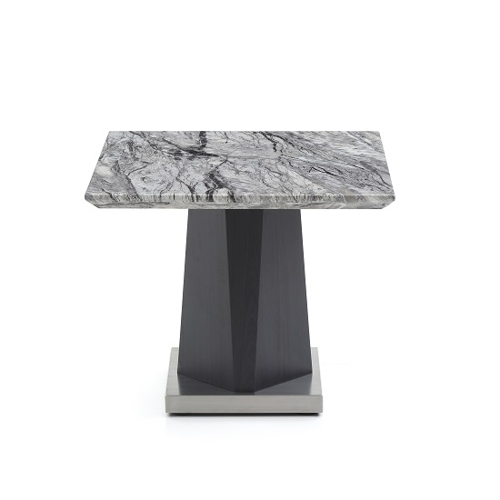 Octave Marble Top End Table Square In Charcoal Grey