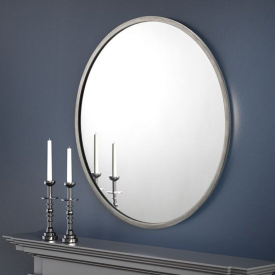 Octave Round Wall Mirror With Pewter Frame