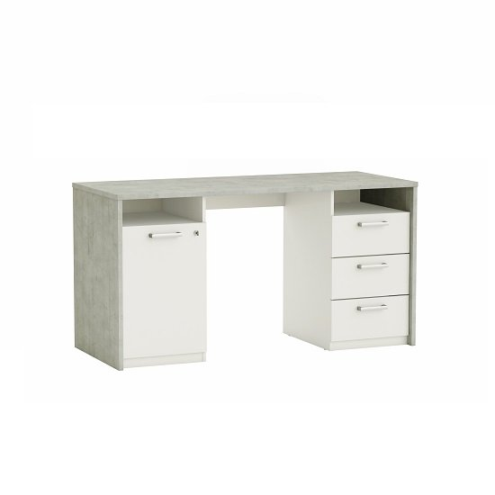 Octavia Wooden Computer Desk In Pearl White And Woodcorn