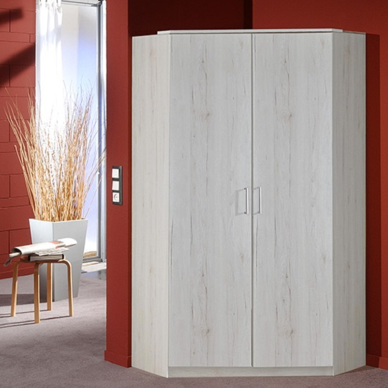 Octavia Corner Wardrobe In White Oak With 2 Doors