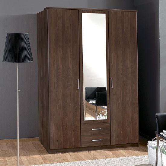 Octavia mirror wardrobe in walnut with 3 doors and 2 dr for Small kitchen wardrobe