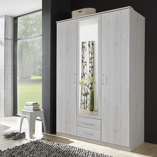 Octavia Mirrored Wardrobe In White Oak With 3 Doors