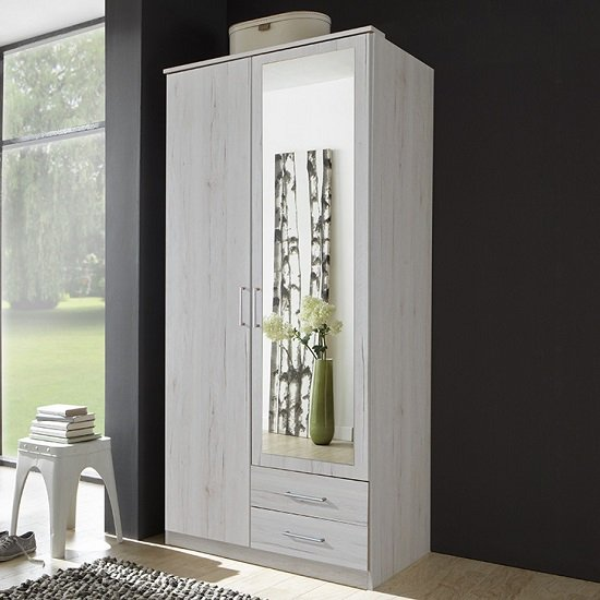 Octavia Modern Mirror Wardrobe In White Oak And 2 Doors