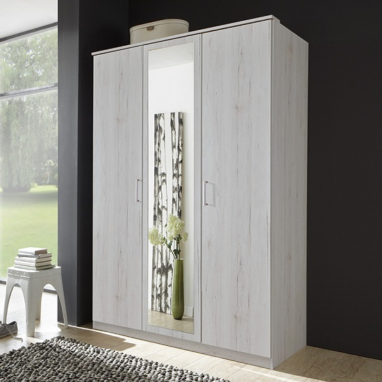 Octavia Stylish Mirrored Wardrobe In White Oak And 3 Doors