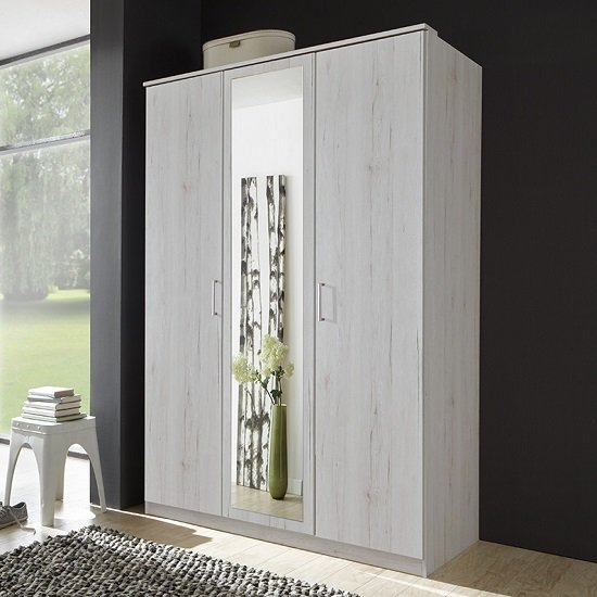 Read more about Octavia stylish mirrored wardrobe in white oak and 3 doors