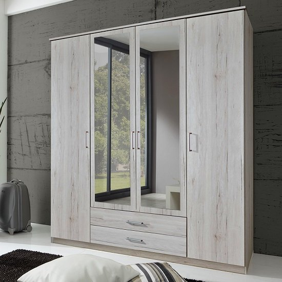 Octavia Mirrored Wardrobe In White Oak With 4 Doors 27736