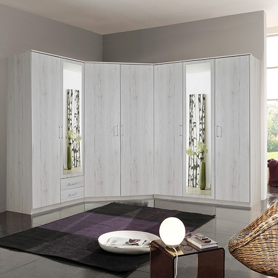 Octavia Corner Mirrored Wardrobe In White Oak