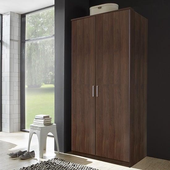 Octavia contemporary wardrobe in walnut with 2 doors for Furniture village wardrobes