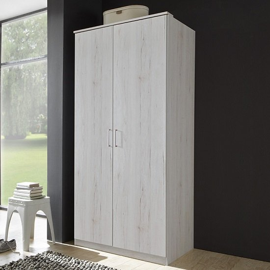 Octavia Contemporary Wardrobe In White Oak With 2 Doors
