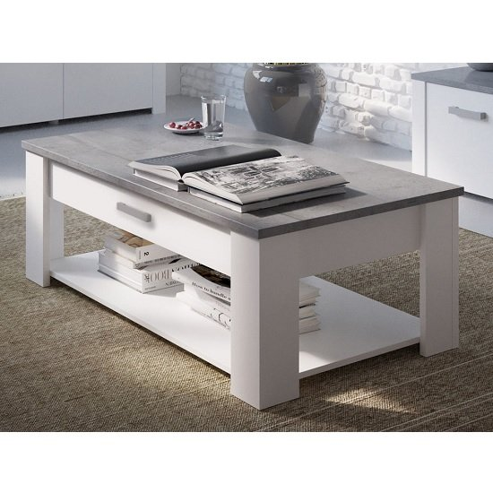 Image of Odelia Wooden Coffee Table In Pearl White And Woodcorn Concrete