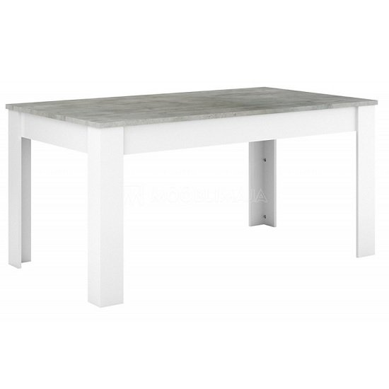 Odelia Dining Table In Woodcorn Concrete And Pearl White