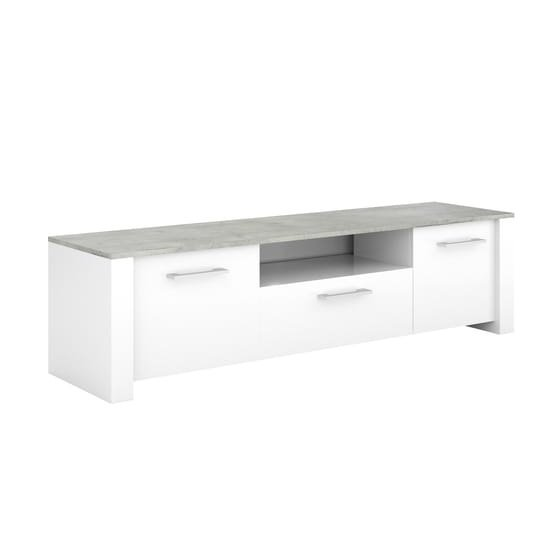Odelia Wooden TV Stand In Pearl White And Woodcorn Concrete