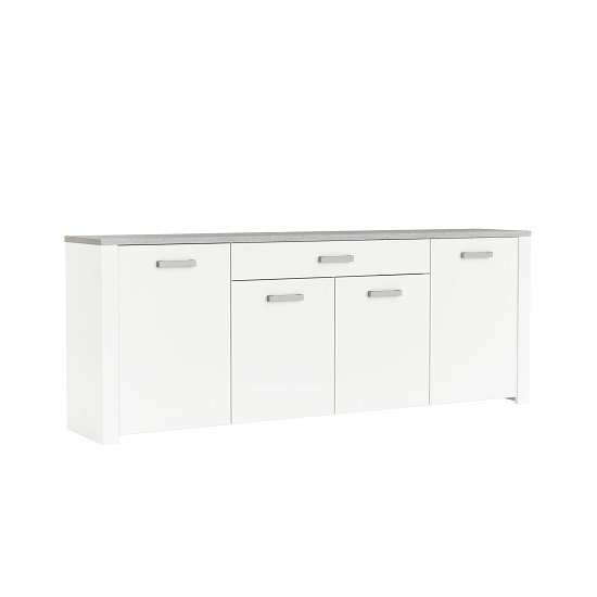Odelia Wooden Large Sideboard In Pearl White And Woodcorn