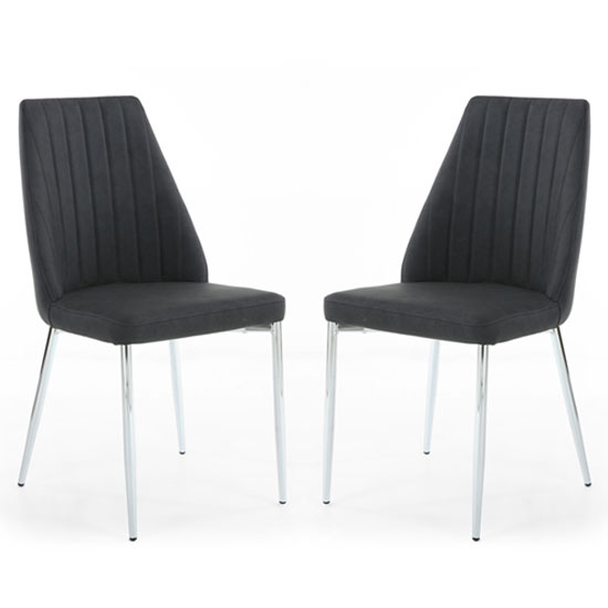 Odeon Dark Grey Leather Curved Back Dining Chair In A Pair
