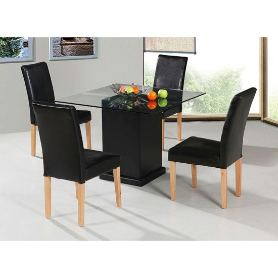 Odessa Dining Table with 4 Brown Ashdale Chairs