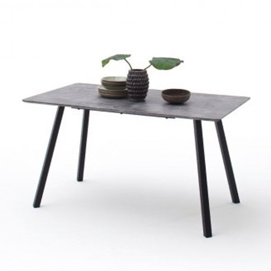 Odessa Large Wooden Dining Table In Concrete With Anthracite Leg