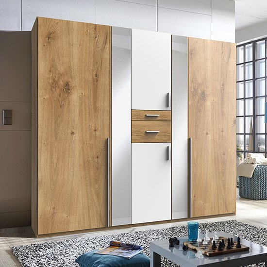 Odessa Mirrored Wooden Wardrobe In Planked Oak And White