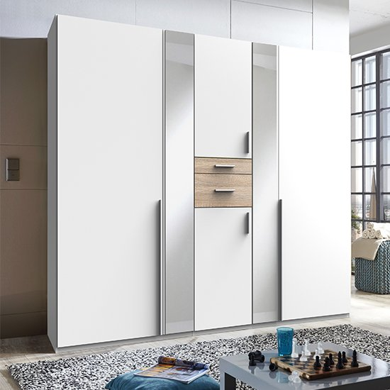 Odessa Mirrored Wooden Wardrobe In White And Oak_1