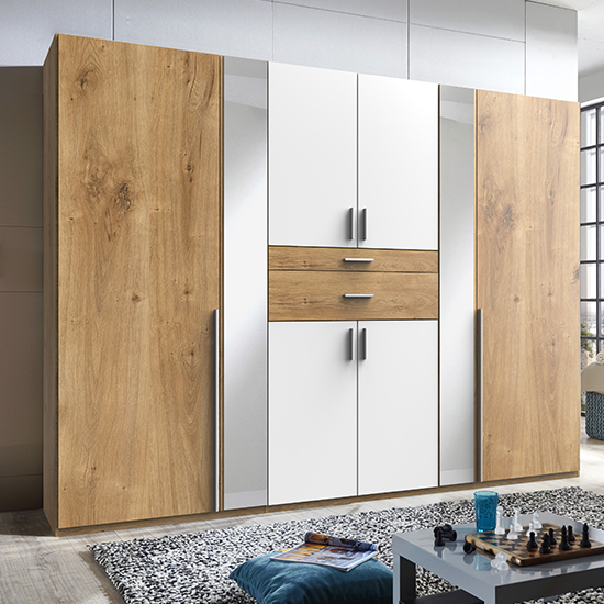 Odessa Mirrored Wooden Wide Wardrobe In Planked Oak And White