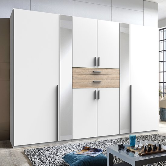 Odessa Mirrored Wooden Wide Wardrobe In White And Oak