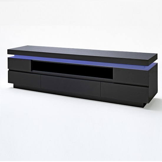 Odessa 5 Drawer Lowboard Tv Stand In High Gloss Black With