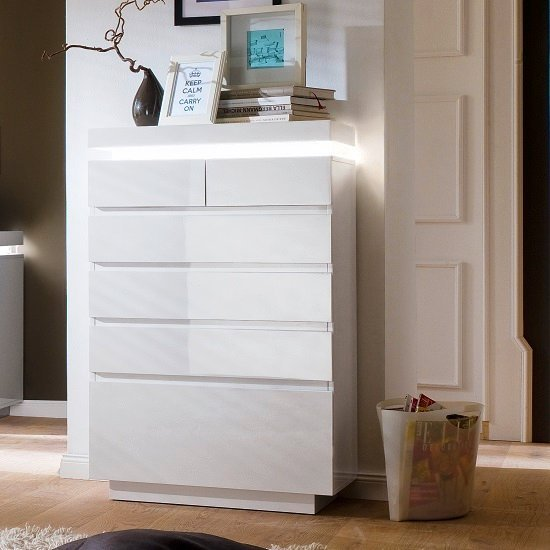 Odessa Sideboard Chest Of Drawers In High Gloss White With