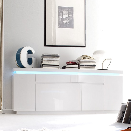 Odessa Large Sideboard 2 Drawer 5 Door Gloss White With LED_1