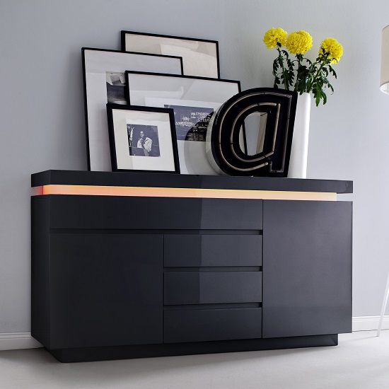 Odessa Sideboard 4 Drawer in High Gloss Black With LED Lights