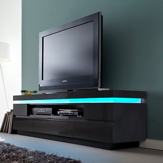 Odessa 5 Drawer Lowboard Tv Stand in High Gloss Black With LED